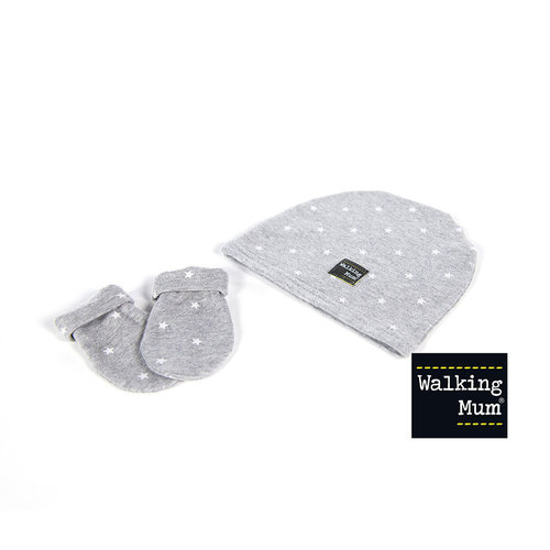 Walking Mum Set de Gorrito y Manoplas GABY Gris