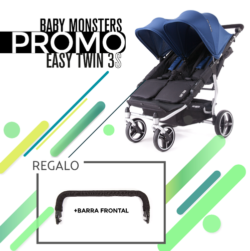 Silla Gemelar EASY TWIN 3S Baby Monsters Chasis Silver + REGALO Barra Frontal